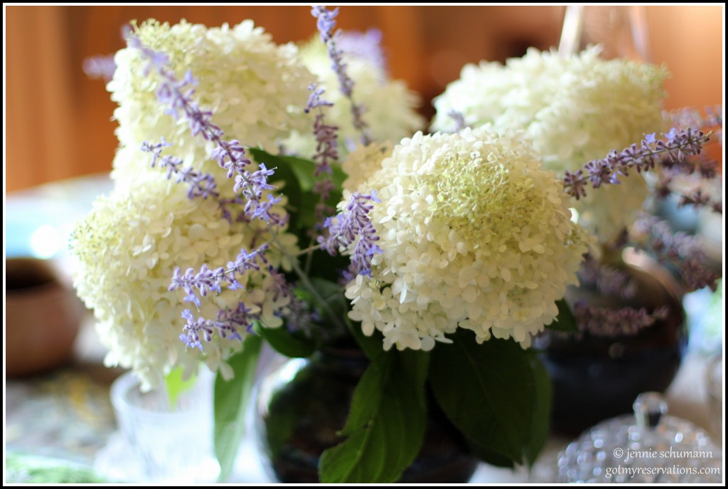 GotMyReservations -- Outside Inside Tablescape Hydrangeas