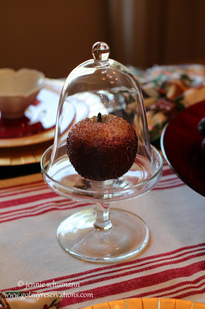 GotMyReservations - An Apple for the Teacher Tablescape Cloche and Apple