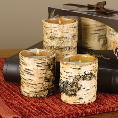 Birch Bark Votive Set