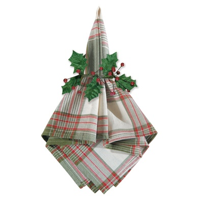 Holly Berry Plaid Napkin and Napkin Ring