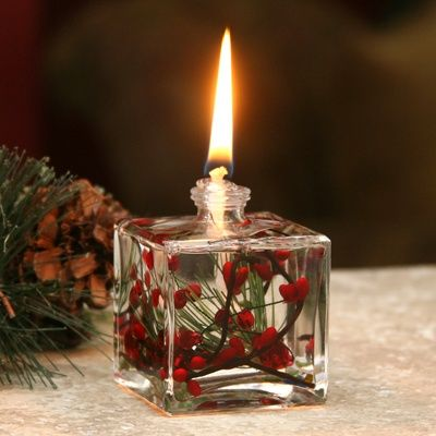 Red Berry Fern Oil Lamp
