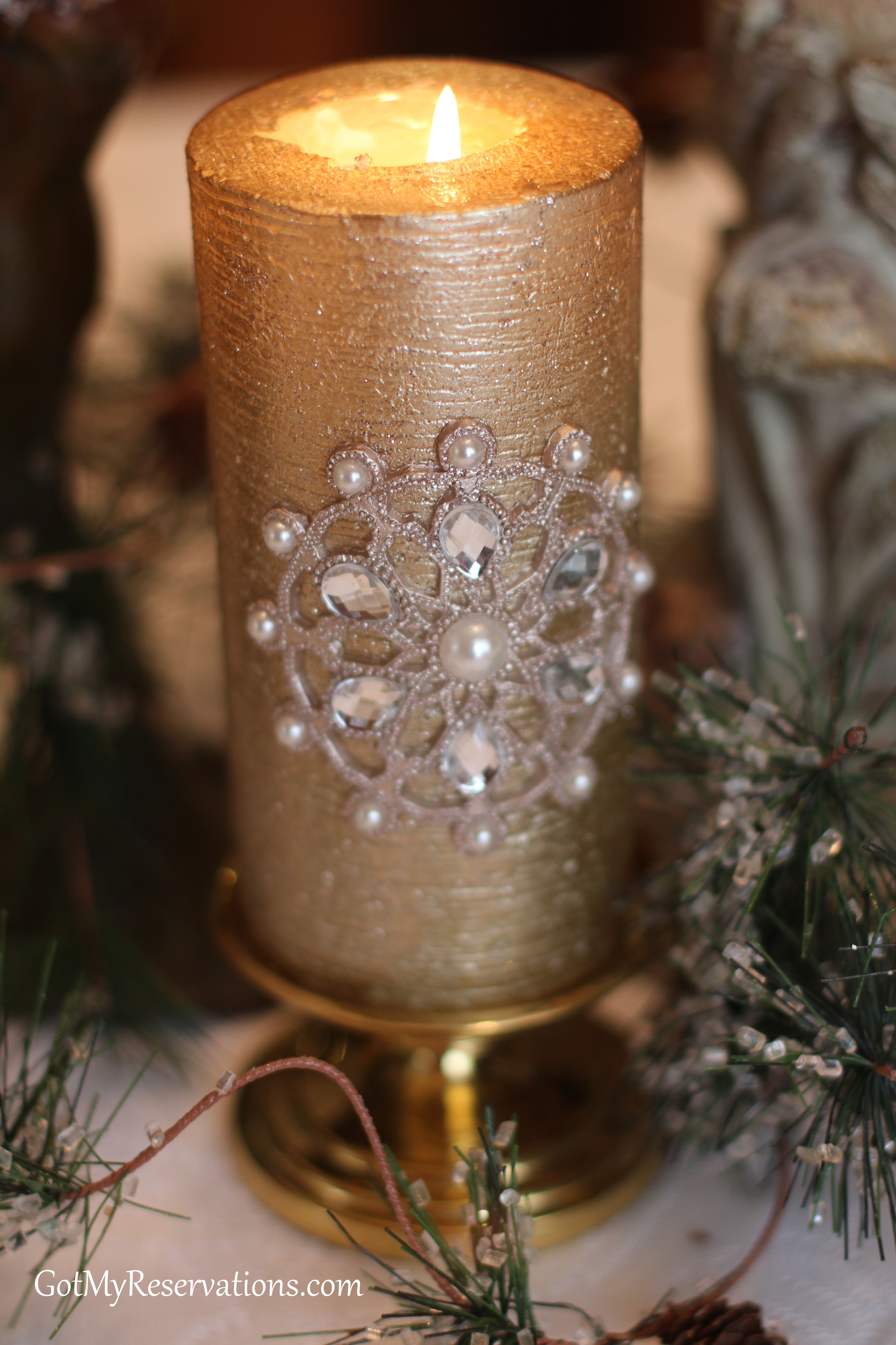 GotMyReservations-Naturally Art Nouveau Blinged Candle