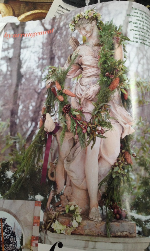 Photo of statuary decorated for Christmas from Veranda magazine, November-December 2013.