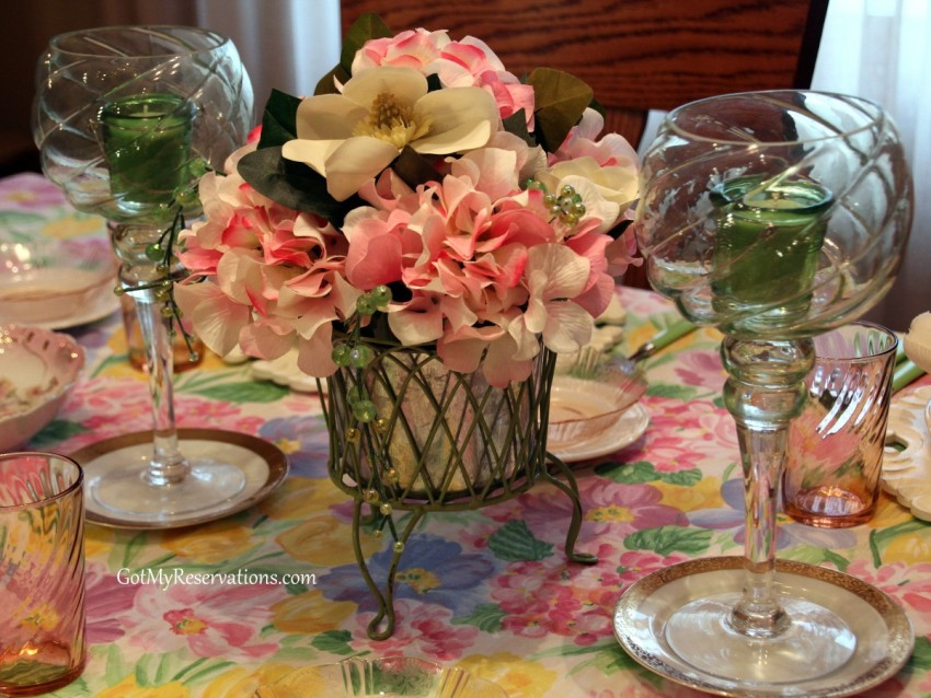 GotMyReservations Spring Garden Party Centerpiece
