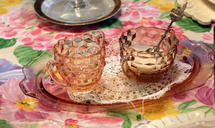 GotMyReservations Spring Garden Party Depression Glass Cream and Sugar