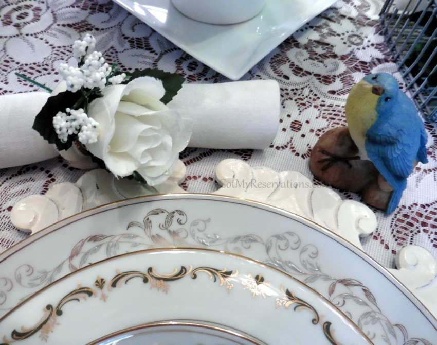 Got My Reservations Wedding China Rose and Bird