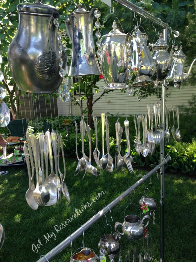GotMyReservations Silver Teapot and Flatware Wind Chimes