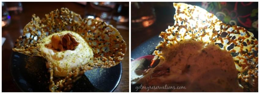 Pistachio Cream in Sesame Brittle Cup Union Sushi and BBQ