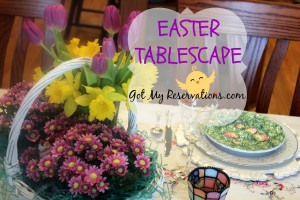 BUNNIES, FRUITS AND FLOWERS TABLESCAPE